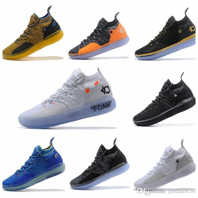Nike KD 11 2018 الجديدة KD 11 EP الأبيض أورانج رغوة الوردي المذعور أوريو أحذية كرة السلة ICE الأصل كيفن دورانت XI KD11 رجل مدرب حذاء رياضة Size7-12