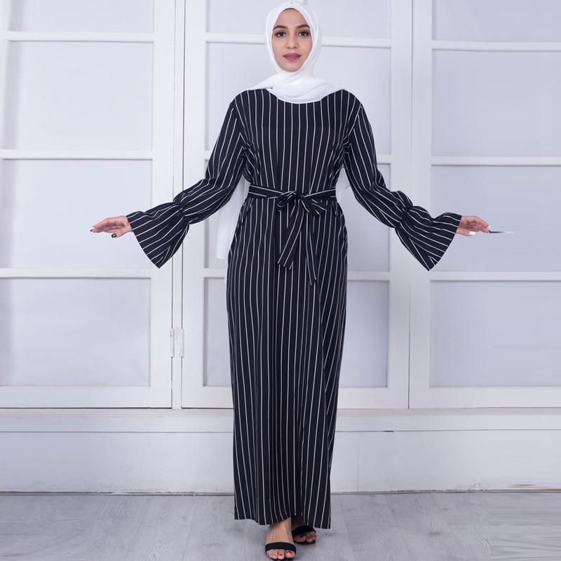 Plus Size femmes Caftans Vestidos 2019 Abaya Dubaï arabe rayé robe Ramadan musulman Tesettur elbise Vêtements Turco-Islamique