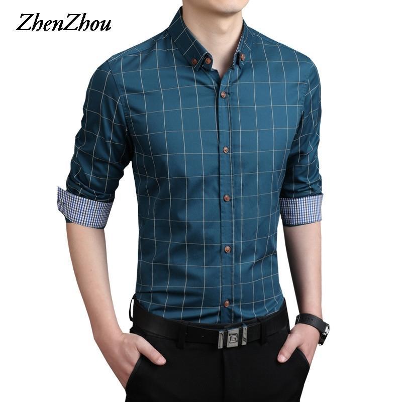 Клетчатая рубашка мужчины с длинным рукавом Slim Fit Белый M-5XL 100% хлопок платья рубашки Мужская одежда социальные старинные летние повседневные рубашки мужчины T200622