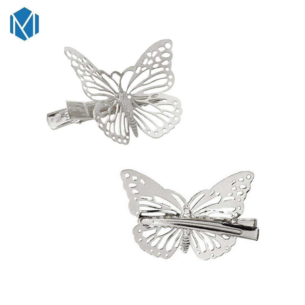 2 Pieces/Set Hollow Sliver Butterfly Hair Clips For Girls Retro Barette Hairpins Vintage Fashion Acessorio Para Cabelo