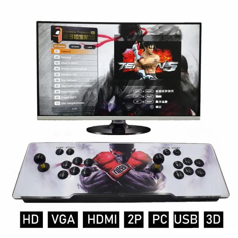 باندورا 7 3D 1280 * 720P صندوق لعبة 32GB ألعاب الفيديو وحدة التحكم ممر آلة مزدوجة ممر جويستيك مع رئيس HDMI VGA الناتج