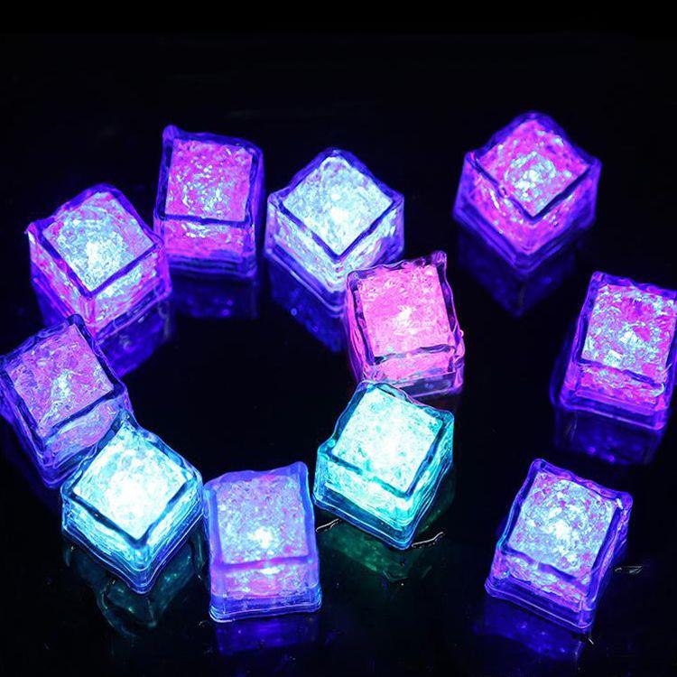 Led party lights Lite cubes Multicolor Light up LED Blinking Ice Cubes Liquid active sensor Night Lights for Xmas wedding decor