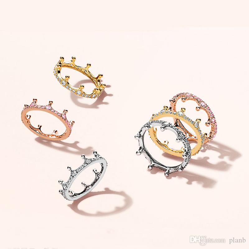 18k rosa ouro amarelo banhado a ouro anel de coroa encantado caixa original para pandora 925 esterlina prata cz diamond mulheres casamento conjunto de anéis