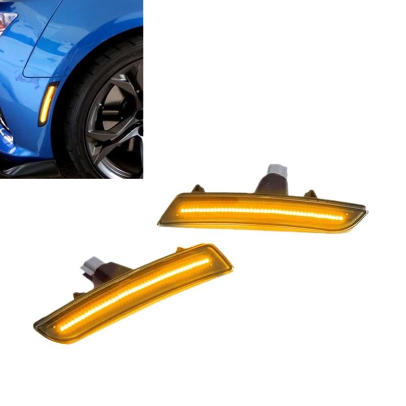 DHBH-1Pair Car Front LED Side Lights Marker Turn Signal Lights for Chevy Camaro 2016 2017 2018 2019