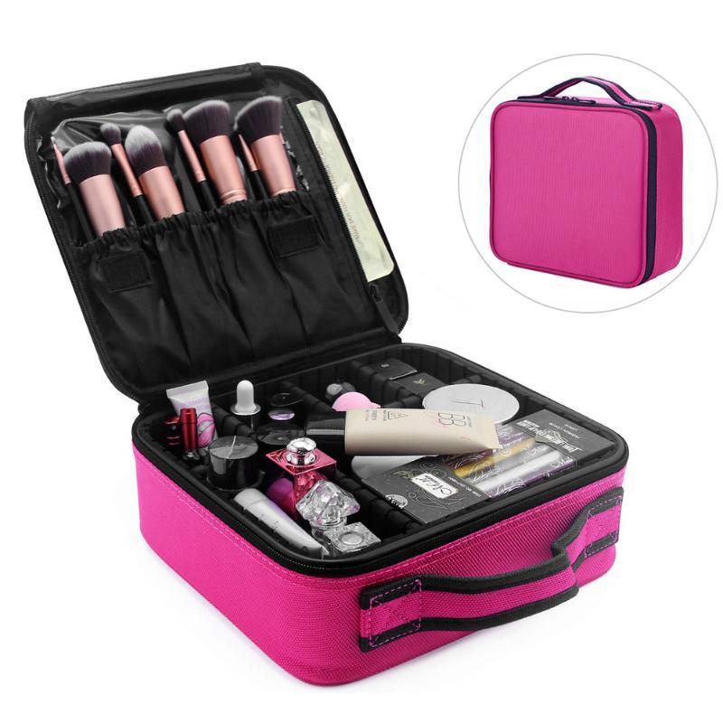 Lave Funda portátil Accesorios de viaje Bolsa Organizador Organizador Maquillaje Multilapa Manija Multifunción con divisores ajustables Necesidad VPQEJ