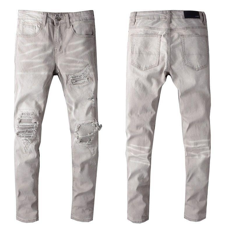 619 Mens Distressed Ripped Skinny Jeans Brand Designer Men's Motorcycle Moto Biker Denim US Size 28~40 Hip Hop Punk Pants freeshipping
