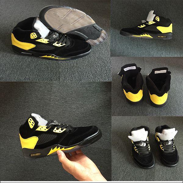 Fab 5 SP Michigan 5s erkekler basketbol ayakkabıları kapalı süet erkek basketbol ayakkabıları siyah sarı spor ayakkabıları nefes alabilen ayakkabı trophy