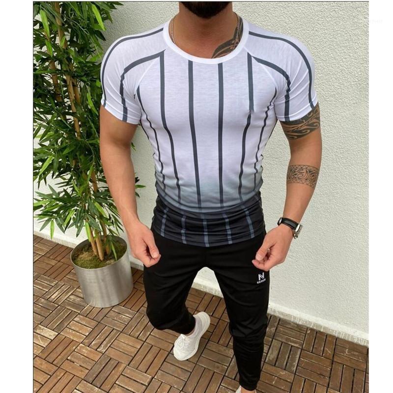 Vêtements col rond manches courtes T-shirt à rayures rapide Hommes sec en vrac Fitness été dégradé Designer Homme
