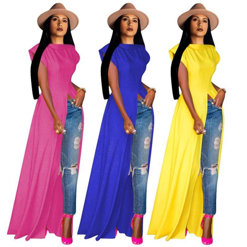 Frauen Kleider sexy Split festes dünne Maxi lange Kleid Strandparty Abend Vereinkleid Sommer Mode Kleid klw1449