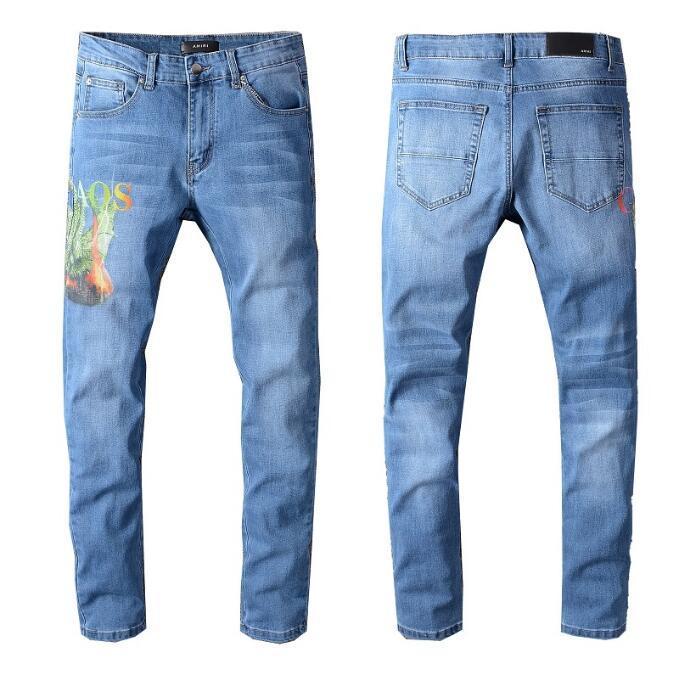 Мужские джинсы дизайнер Классические прямые Байкер Тощий повседневные брюки ковбой известная марка молния Идеальный рисунок шаблон Горячие продажи США Размер 28-40