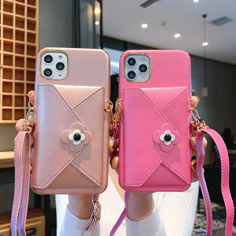 One Piece luxury phone case For iPhone 7 8P XR XS MAX 11PROMAX fashion Leather wallet designer back cover with Lanyard