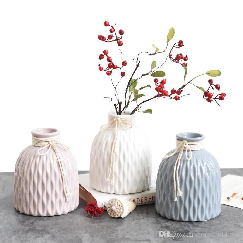 European creative Nordic style home dining table living room desktop decoration ceramic hydroponic vase artificial floral ornaments