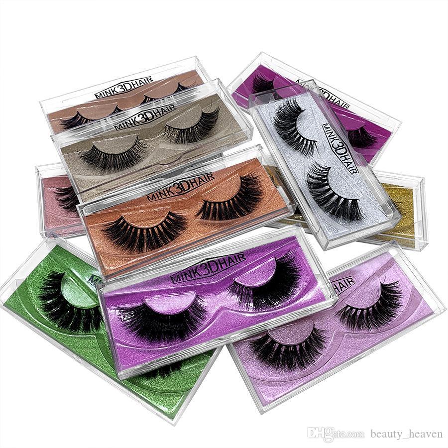 Pestañas de visón 3D Maquillaje de ojos Visón Pestañas postizas Pestañas postizas gruesas naturales suaves Extensiones de pestañas 3D Extensión Herramientas de belleza