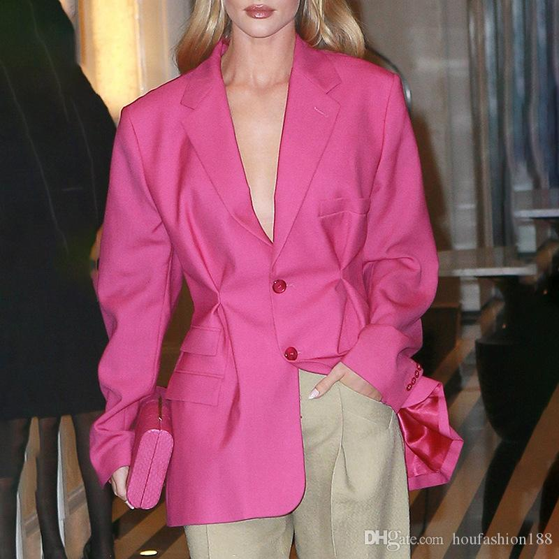 Pink oversize blazers for womens long sleeves designers style fashion high street ladies clothes 2019 fall