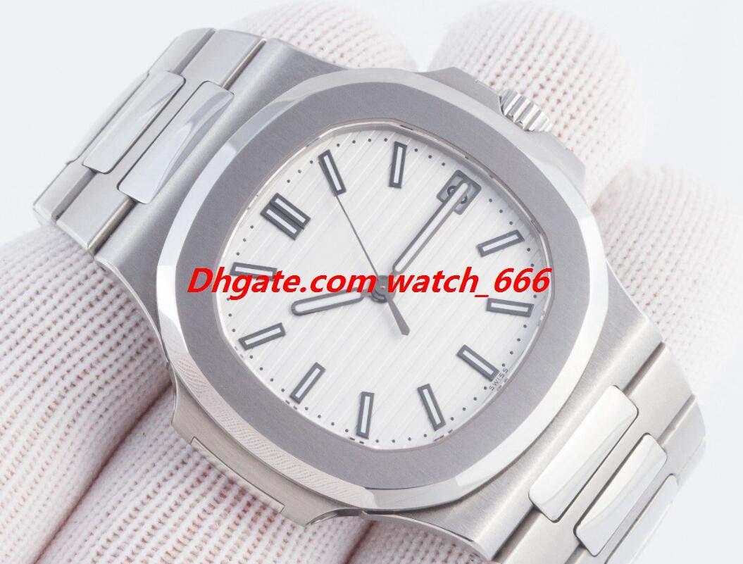 New Version Orologio di lusso maschile N @ utilus 5711 / 1A-011 in acciaio inossidabile quadrante bianco degli uomini di modo automatico guarda l'orologio