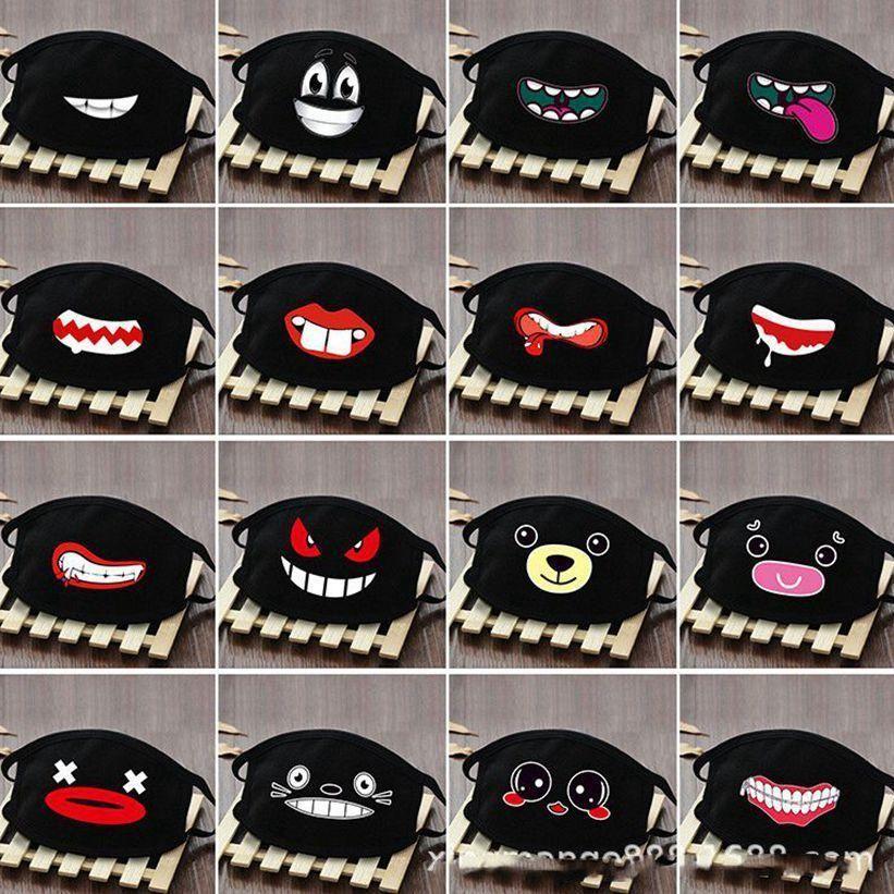 Maschera della cotone antipolvere Bocca Volto del fumetto del Anime fortunato denti delle donne degli uomini a muffola, Viso, Bocca Maschere maschere nere creativi
