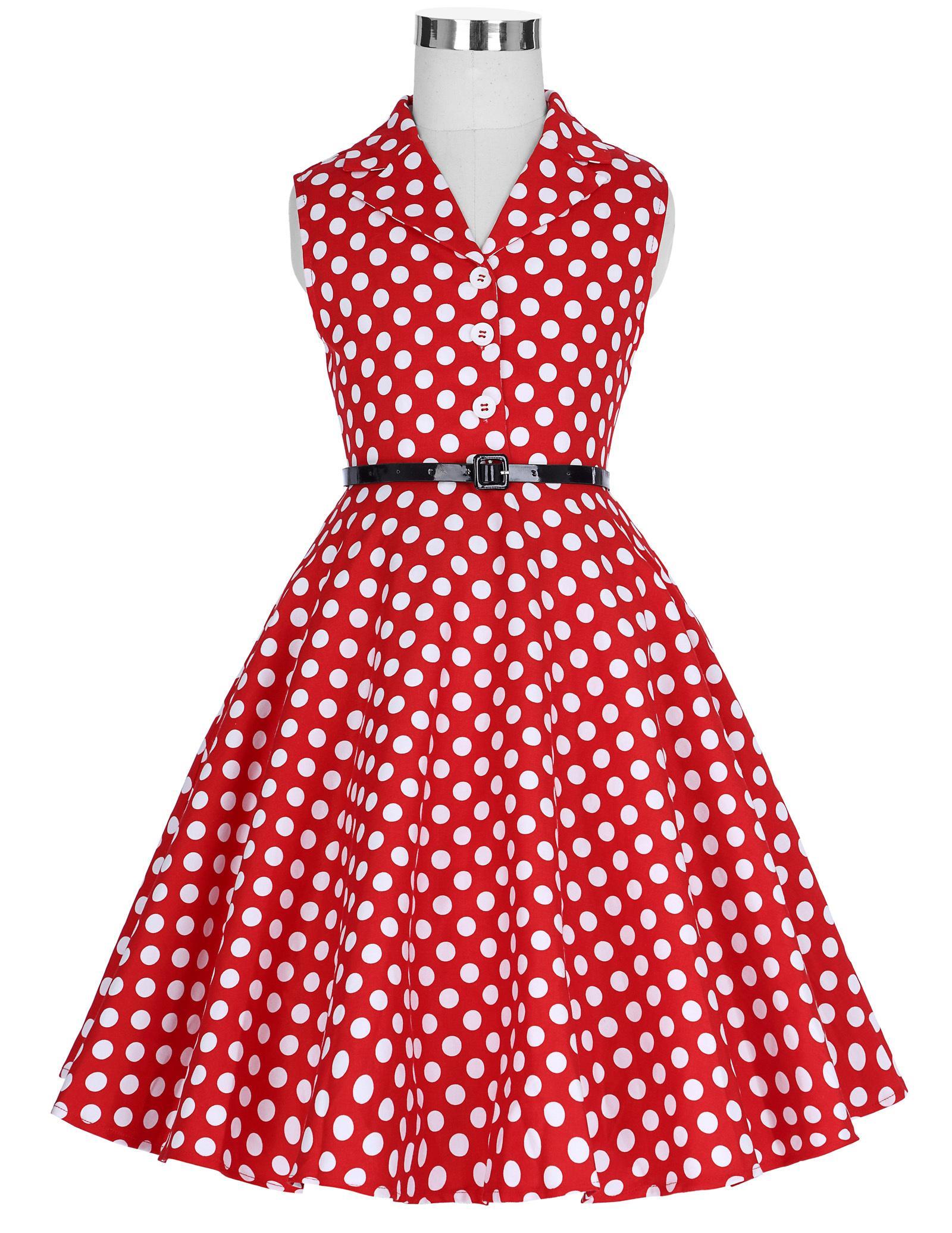 New Children Kids Girls Retro Vintage Sleeveless Lapel Collar Polka Dots Dress Y190516
