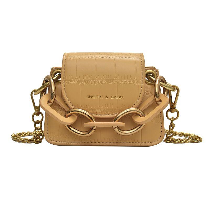 Designer-koreanische Handtasche Taschen Kette Tasche Steinkette Schulter 2019 Einzelne neue Metall Umhängetasche Muster Mini Mode PU tragbare Münze qfrit