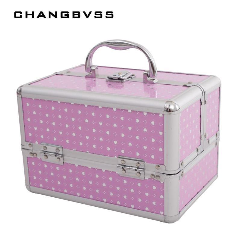 새로운 패션 3 개 레이어 스토리지 박스 뷰티 케이스 화장품, 메이크업, 소녀의 선물 보석 저장 상자 화장품 가방, 24 * 17 * 18cm