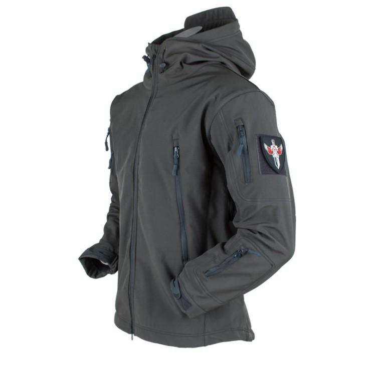 Ropa de la caza al aire libre táctico millitary Softshell Jacket juego de los hombres de combate impermeable Fleece Jacket Male color sólido