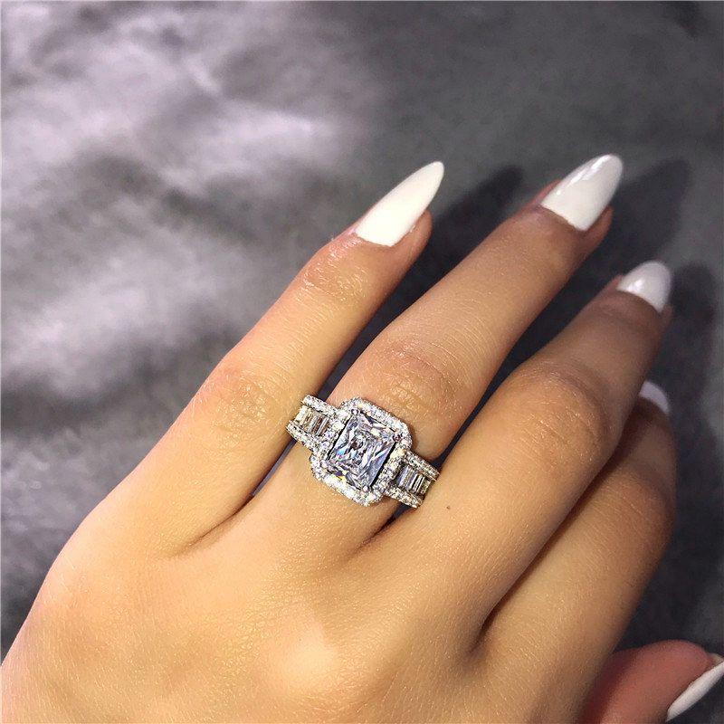 Игристые площади Циркон Обручальные кольца для женщин размер 6 7 8 9 1 0 Верхнее качество партия S925 Silver Full CZ Engagement ювелирные изделия BAGUE