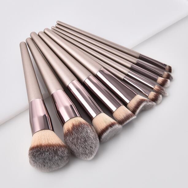 مجموعة عالية الجودة شامبين فرش الذهب بنية 10pcs فرشاة أدوات الملحقات لظلال العيون البودرة منزوع أحمر الخدود مستحضرات التجميل DHL الحرة فرشاة