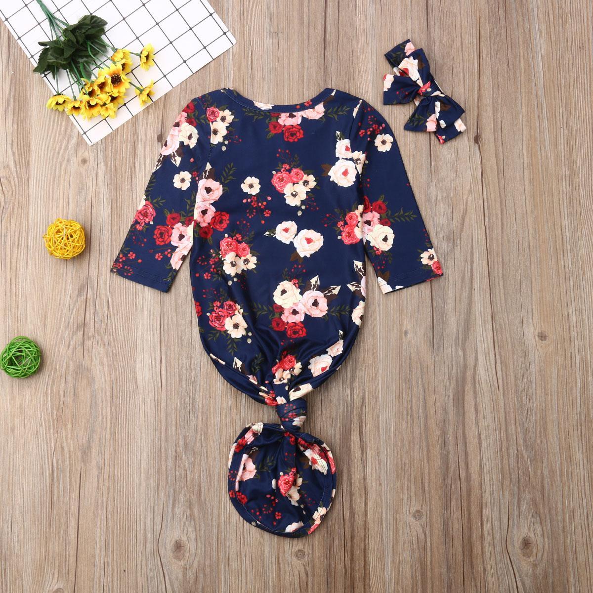 0-12Month Flor bebé recém-nascido Meninos gavetas Enrole Blanket saco de dormir + Headband Set