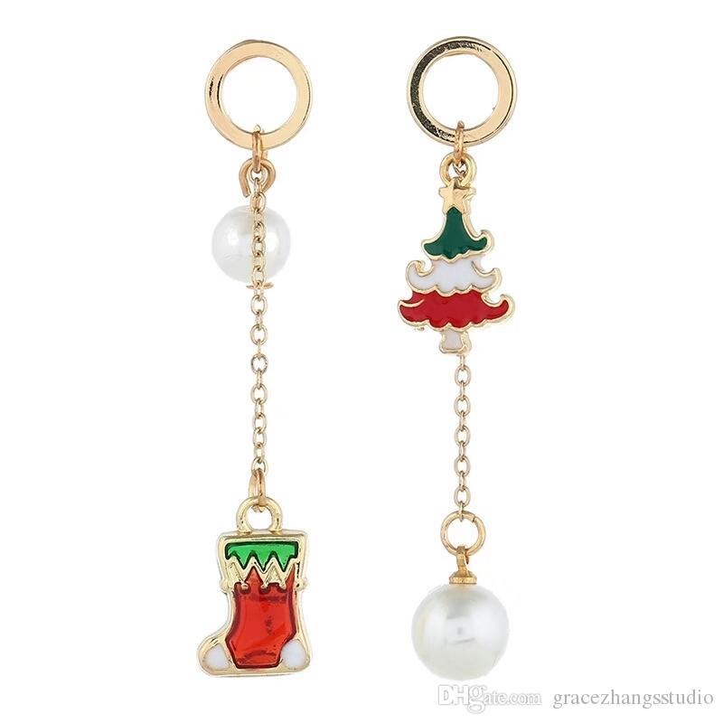 크리스마스 트리 여성 스타킹 진주 진주 귀걸이 여성 만화 샹들리에 귀걸이 선물 용품 무료 배송 크리스마스 선물