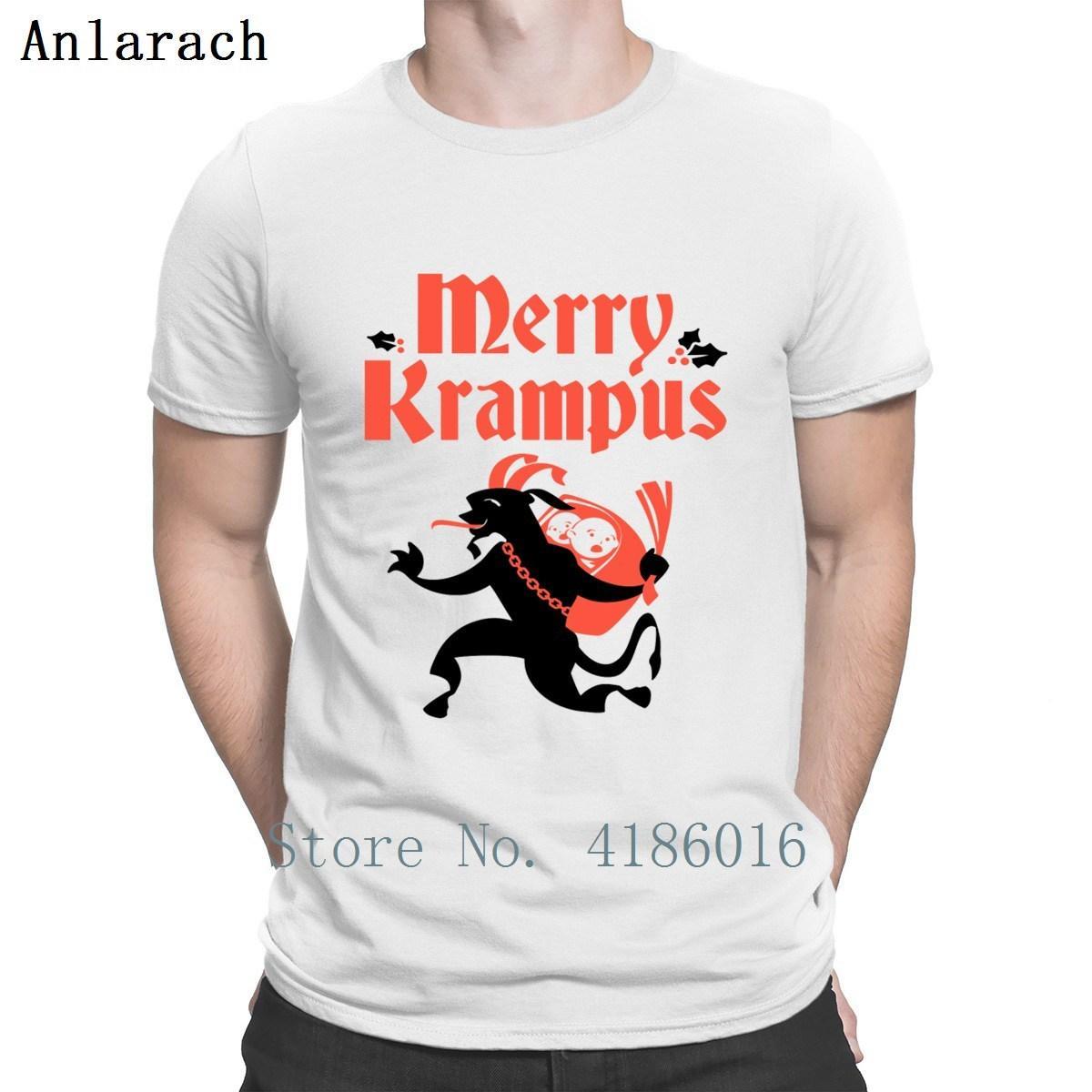 Веселая футболка с надписью Merry Krampus, стандартная весенняя футболка с круглым вырезом, базовая однотонная хлопчатобумажная рубашка с принтом