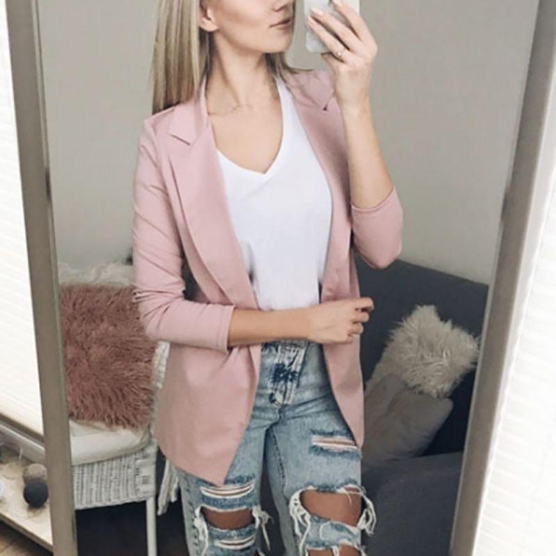Otoño Invierno Mujer Blazer Turn-down Collar de manga larga Blazer mujeres oficina delgada señora de la chaqueta femenina Tops Outwear L3
