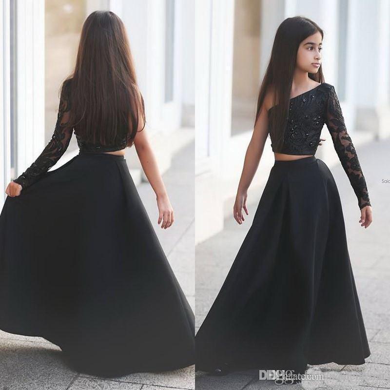 Arabe Dit Mhamad Noir Une Épaule À Manches Longues Enfants Robes De Bal Une Ligne Deux Pièce Perlé Fleur Robes De Filles