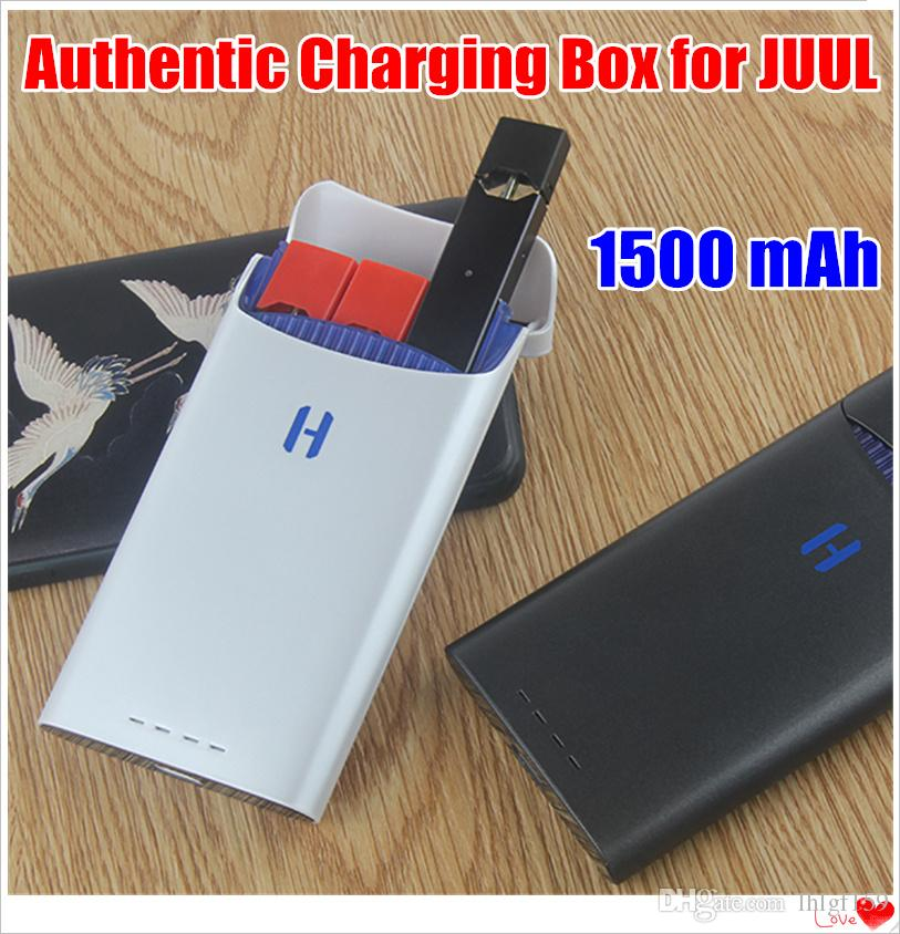 2019 Newest 1Pcs Authentic 1500mAh Portable Charging Box for JUUL Vape Pods Kit Can Tack Out Easy Charger