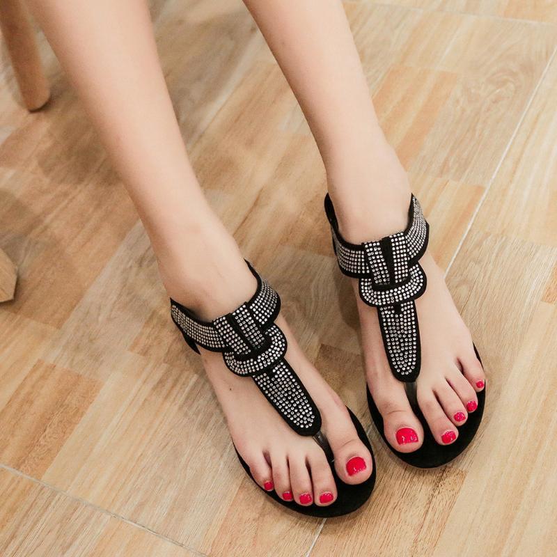 2020 Yeni Kadın Sandalet Flats Ayakkabı Yaz Casual T-Kayışı Sandalet Kadınlar Moda Kristal Bohemian Plaj Düz Roman Ayakkabı # 5.25