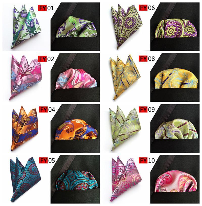 New Arriver Men Paisley tie Pattern Pocket Square Handkerchief Silk Paisley Men Hankies for Men Suit Square