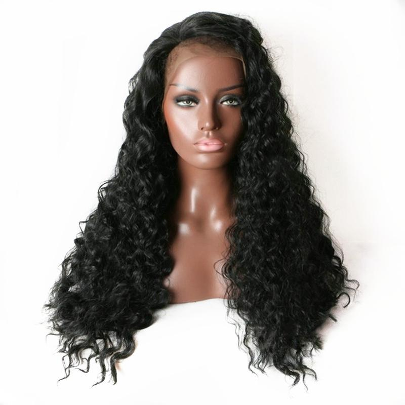 180% Density Side Parting Black Color Full Density Deep Wave Synthetic Lace Front Wig Baby Hair Heat Resistant Fiber Hair For Black Women
