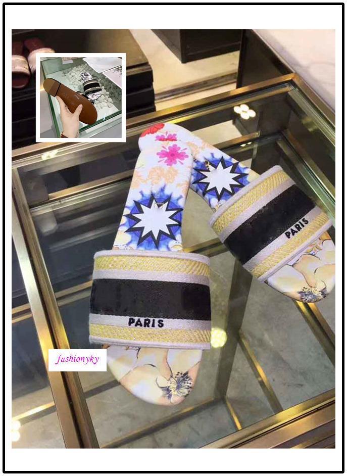 marca a caldo NUOVO Dazzle Fiori Donne Sandali Pantofole Designer Infradito a righe ricamo sandalo broccato floreale Slipper