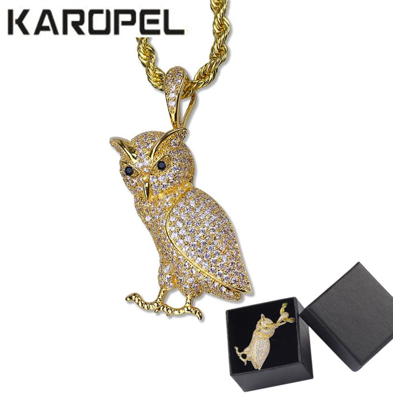 """Hip Hop collar animal de cobre de oro heló hacia fuera Micro Pave CZ búho de piedra collares pendientes 24"""" cadena de la cuerda de acero inoxidable"""