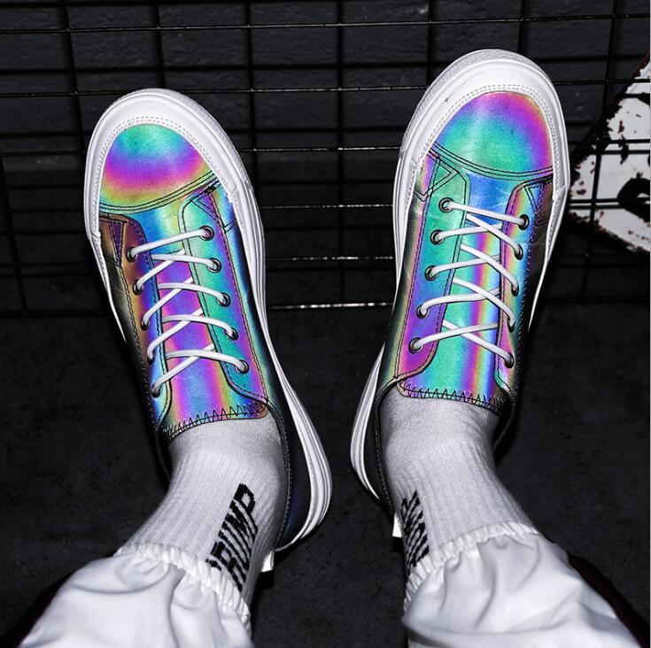 Hip hop homens daning de skate menino sapatos masculinos noite clube partido reflexivo atam acima calçados casuais dos homens do desenhista