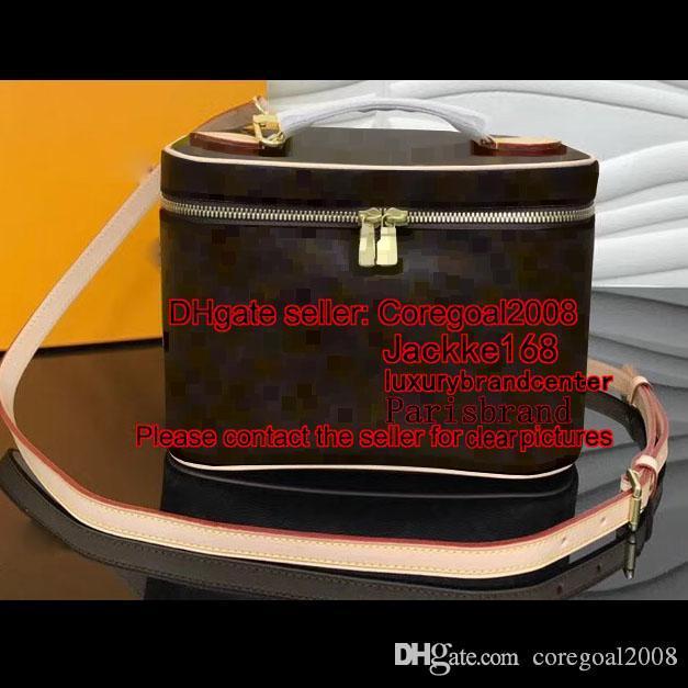 Para mujer pequeña NICE BB caja cosmética de viaje M42265 M47280 estuche bolso tote maquillaje monedero CRUZ bolso de cuerpo de lujo M41114 N60024 N47516 M41348 24 cm