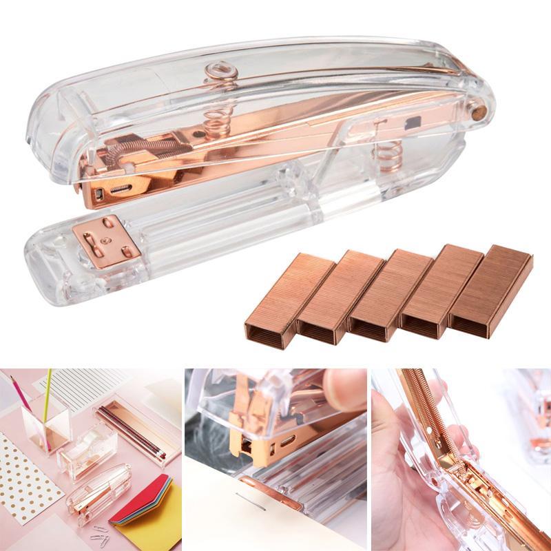 Di recente in oro rosa Di alta qualità in plastica trasparente pinzatrice Ufficio Studi vincolante macchina MK