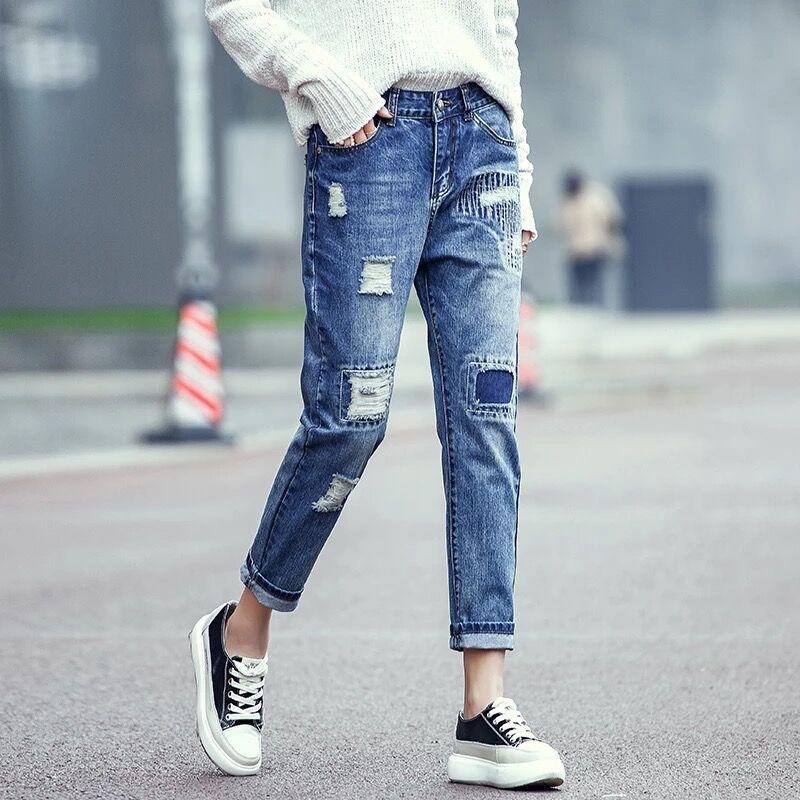 summer Ripped pants Holey patch jeans Women's pants Denim high waist Straight cotton woman jeans casual