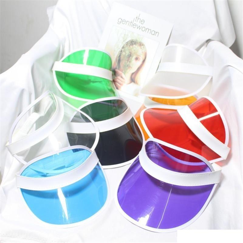 Sun Visera Sunvisor Party Hat Sombrero de plástico transparente Transparente PVC Sun Hats Sunscreen Hat Tennis Playa Elástica Sombreros BD0041