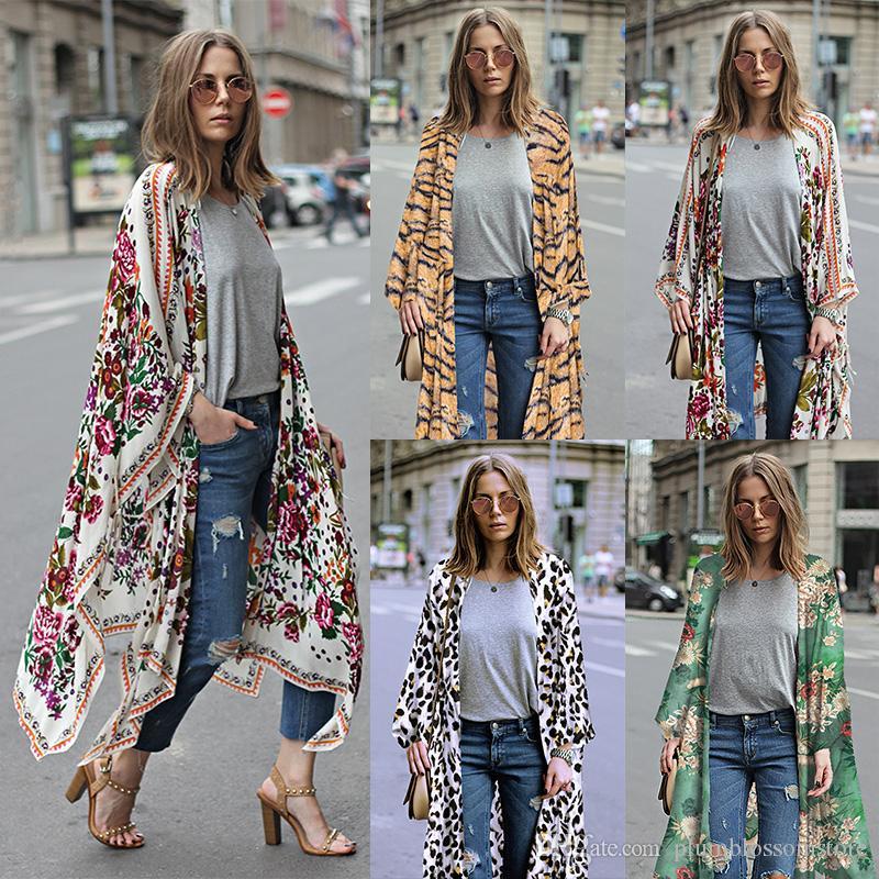 Élégant Floral imprimé kimono blouses Chemise Femmes De Mode Long cardigan tops d'été casual Plage Bohème en mousseline de soie bikini Maillots De Bain cover ups