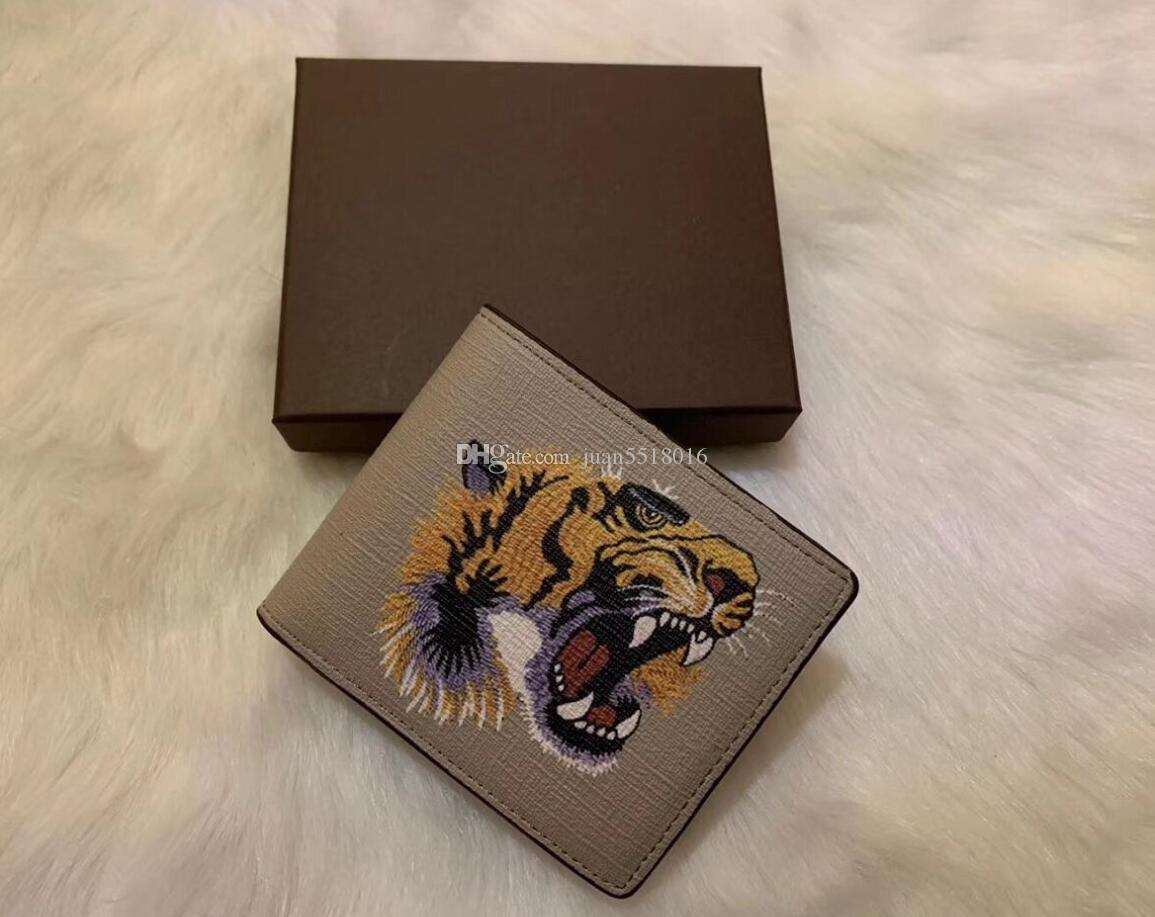 6 cores alta qualidade para os homens animais curto carteira de couro de cobra preto Tiger abelha Carteiras Mulheres, bolsa estilo de titulares de cartão carteira com caixa de presente