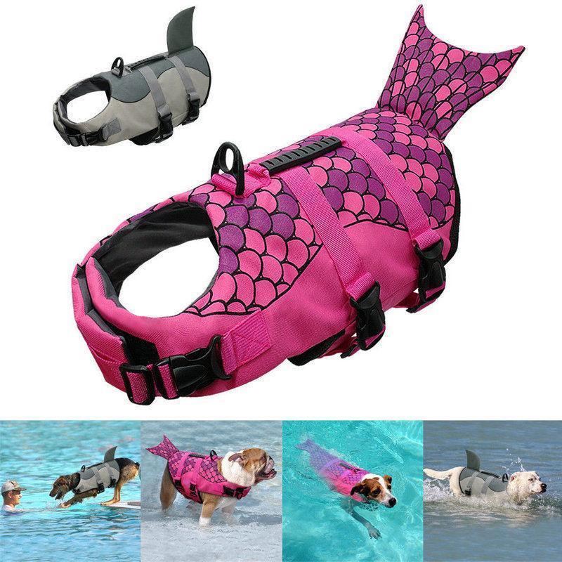 Jacket New Pet Dog Natação Vida Float Buoyancy Aid Vest Jacket ajustável Lifesaver Aid Dog Life Vest tubarão Sereia Pet Natação Roupa