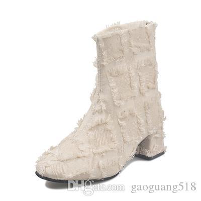Женские 2019 новых осенью и зимой на высоких каблуках замши круглый носок короткие сапоги толстый каблук плюс бархат моды сапоги весна