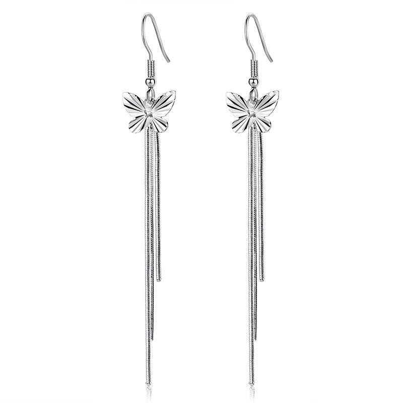 Schmetterling Lange Quasten Ohrringe für Frauen Weibliche Damen Modeschmuck Klassische Einfache Valentinstag Geschenk WHE147