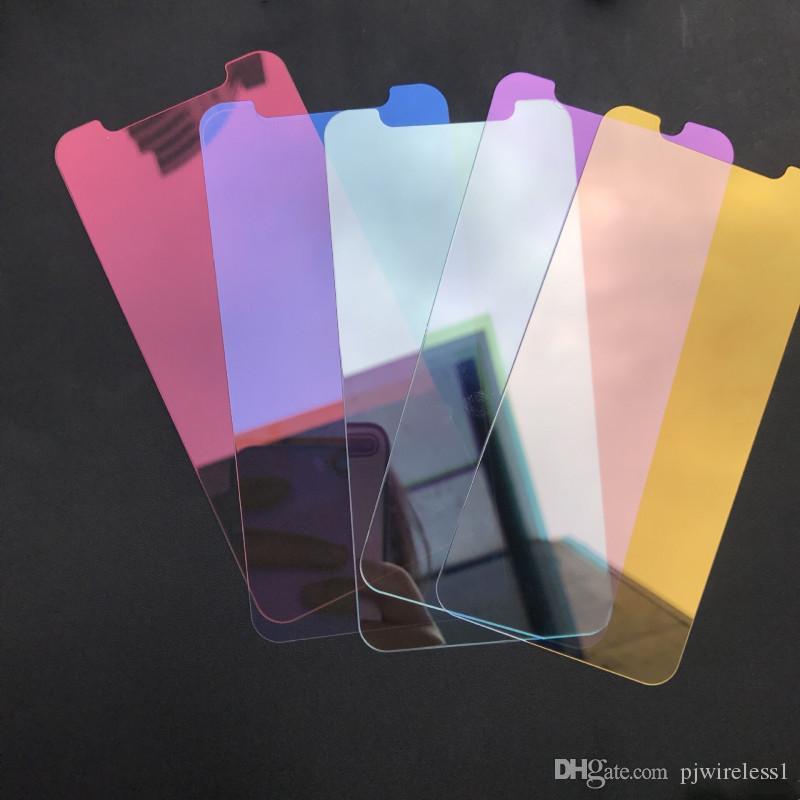 iPhone XR XS Maxミラー強化ガラスカラフルなフロントスクリーンプロテクターフィルムパッケージ化なしのiPhone X XS