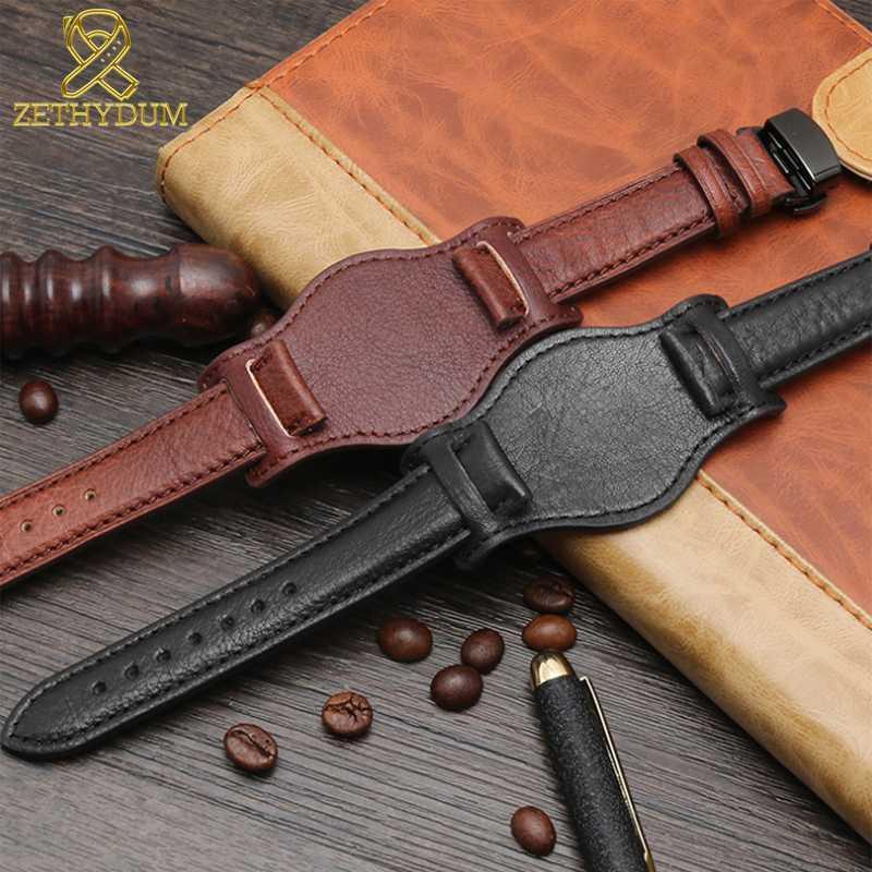 Натуральная кожа браслет 18мм 20мм 22мм часы ремешок с ковриком наручные часы группа ручной работы кожаный ремешки часов простой черный пояс