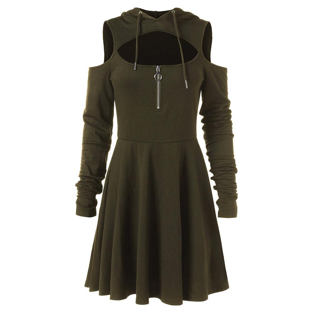 Hombro frío de moda Vestidos de mujer Hombro abierto de manga larga con capucha Swing Zipper Dress tallas grandes ropa robe femme Venta caliente